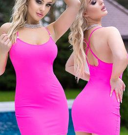 * CHILIROSE Neon roze mini jurkje