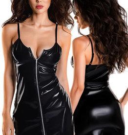 Zwart wetlook jurkje met rits Naomi