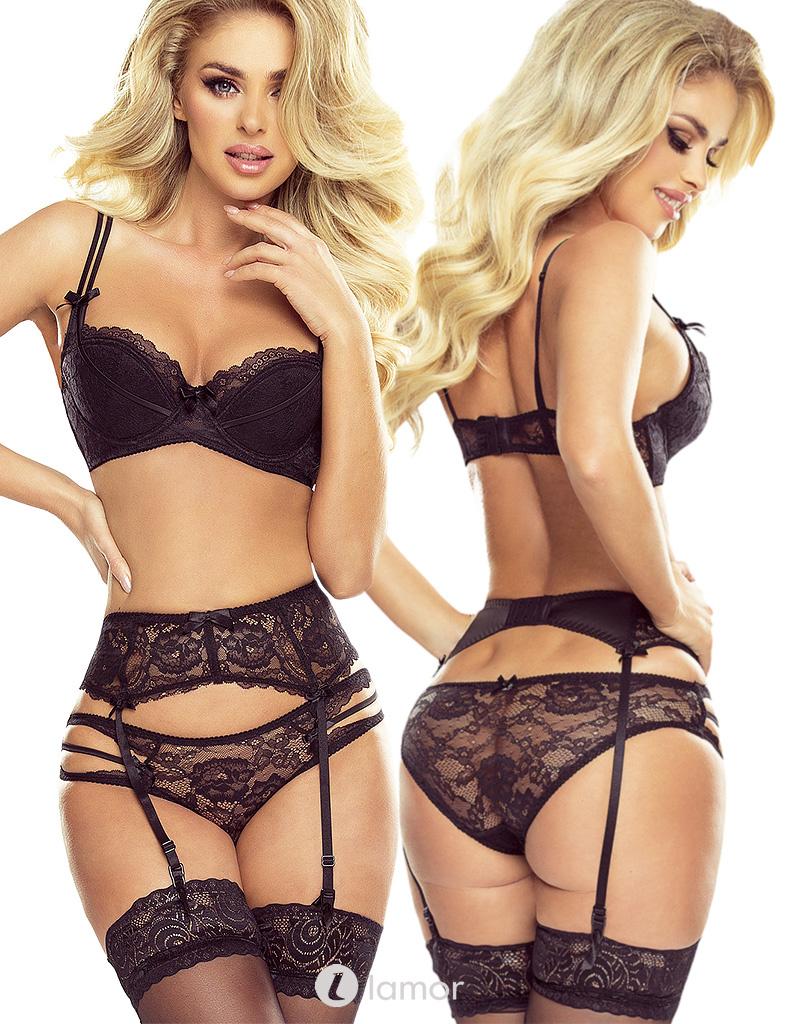 * PROVOCATIVE 2-delige zwarte lingerie set Reine de Séduction