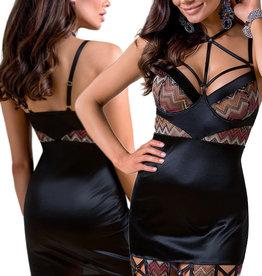 Zwarte chemise Lagerta & string