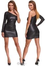 * DEMONIQ Sexy zwarte  asymmetrische wetlook jurk Felicia