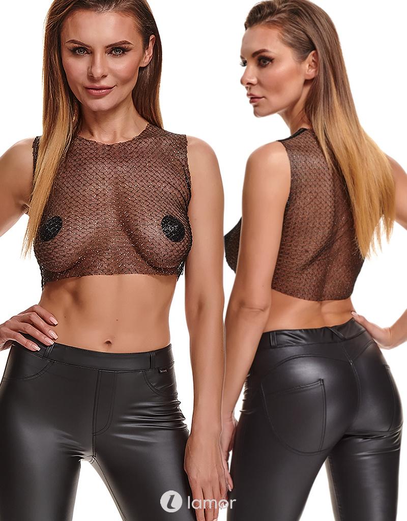* DEMONIQ Sexy Zwarte Zilvere transparante top