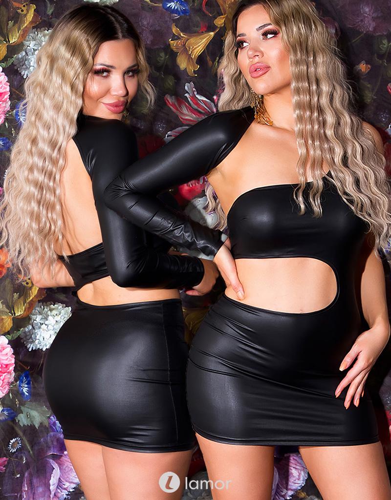 Zwart one-shoulder wetlook jurkje