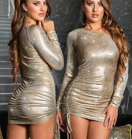Goudkleurige one-shoulder mini jurk
