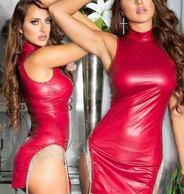Rood wetlook jurkje  met metalen franjes