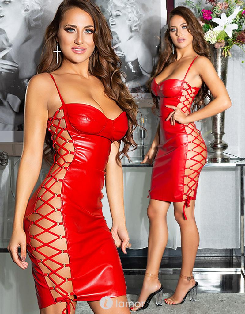 Sexy rode PU-lederen mini jurk met vetersluiting