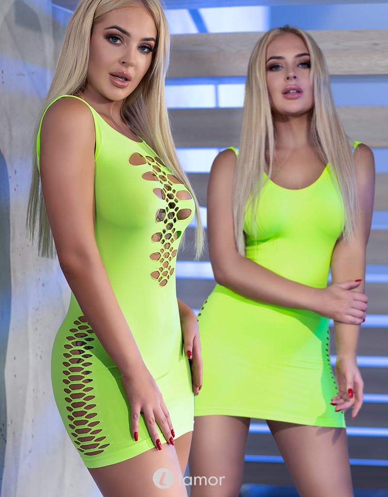 * CHILIROSE Neon groen naadloos mini jurkje