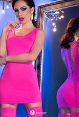 * CHILIROSE Neon roze  strak mini-jurkje met  kousen  CR4305-P  van Chilirose