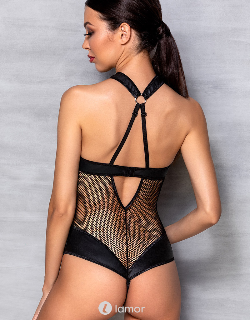 Body Amanda in mesh met lederlook van het merk Passion