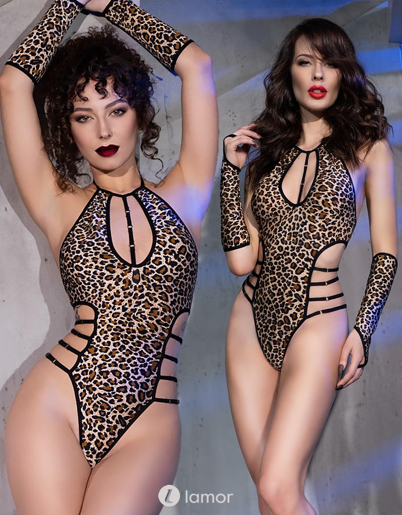 * CHILIROSE Body in luipaard print met elastische banden van Chilirose