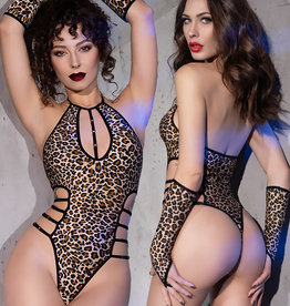 * CHILIROSE Body met sleeves  in luipaard print.