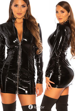 Sexy zwart latex mini jurkje met rits