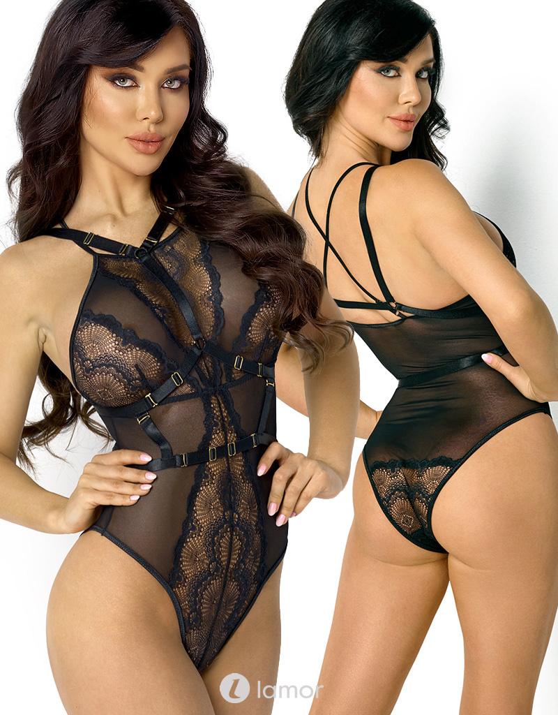Zwarte Body Blair met harnas