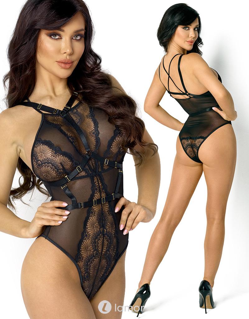 Verleidelijke en elegante body met harnas Blair