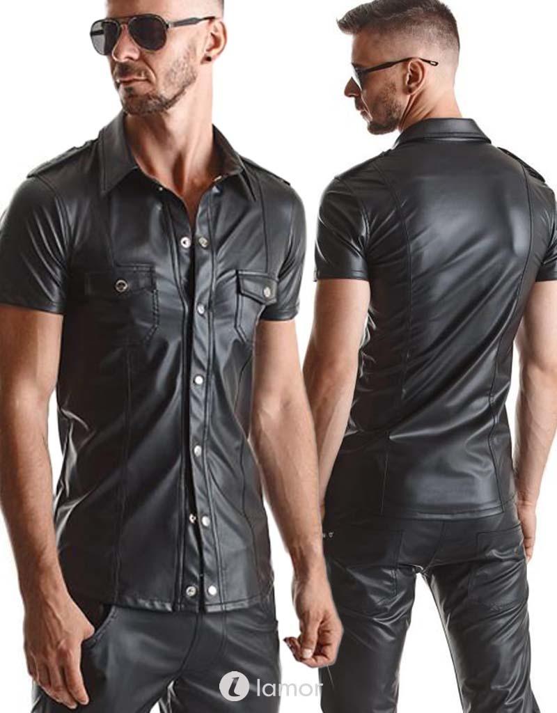 Wetlook heren blouse