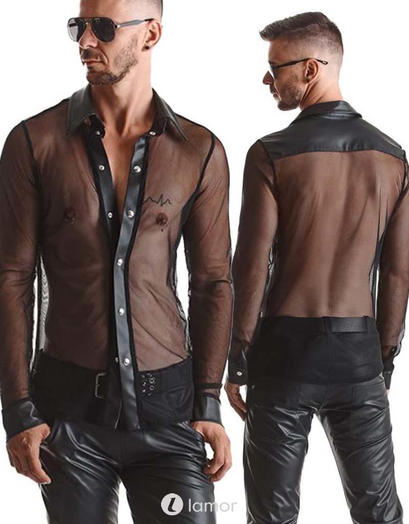 Tule heren blouse met wetlook details