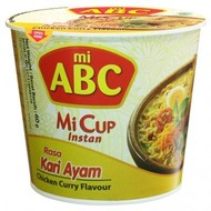 ABC Instant cup noedel kip/curry smaak 60g ( THT19/06/2020)