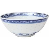 Kom 15cm H 6,5cm rijstkorrel blauw wit