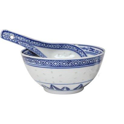 Rijstkom 11cm + lepel blauw / wit