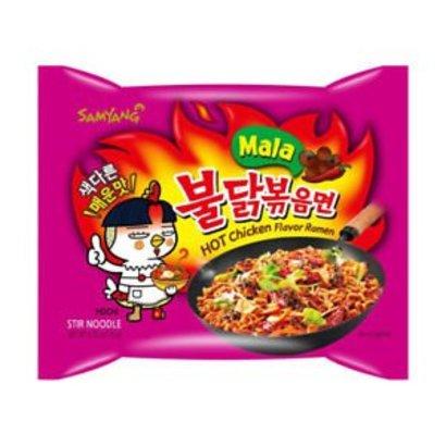Samyang Instant noedel kip 4x HEET 135g MALA HOT CHICKEN