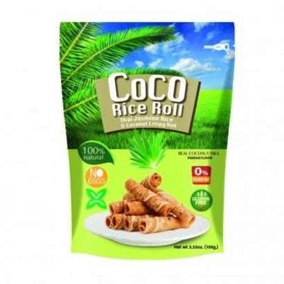 Coco Rice Roll Knapperige kokosnoot rijstrol met pandan smaak 100g