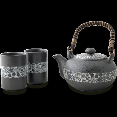 Japanse theeset 3-delig 500ml Bloemenpatroon zwart/wit