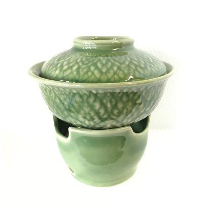 Thais TOM YUM set groene porselein  met motieven