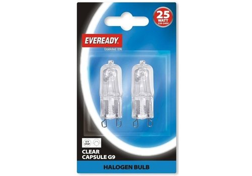 Eveready G9 25W Halogeen helder 2-pack