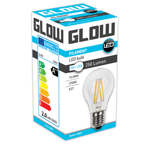 GLOW LED FILAMENT NORMAAL 2W-25W E27 A60 250LM ND