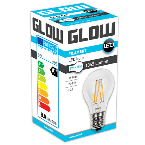 GLOW LED FILAMENT NORMAAL 8W-75W E27 A60 1055LM ND