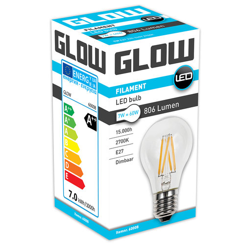GLOW LED FILAMENT NORMAAL 7W-60W E27 A60 806LM DIMBAAR