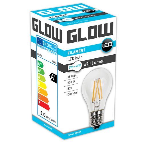 GLOW LED FILAMENT NORMAAL 5W-40W E27 A60 470LM DIMBAAR