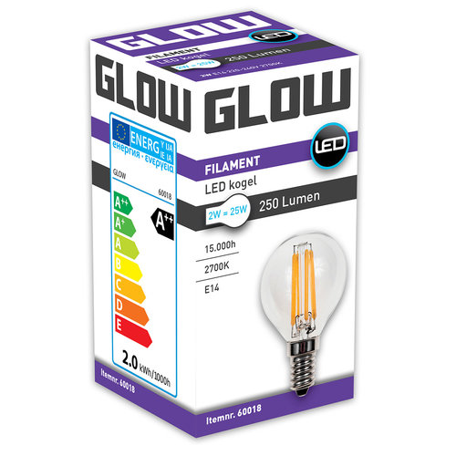 GLOW LED FILAMENT KOGEL 2W-25W E14 G45 250LM ND