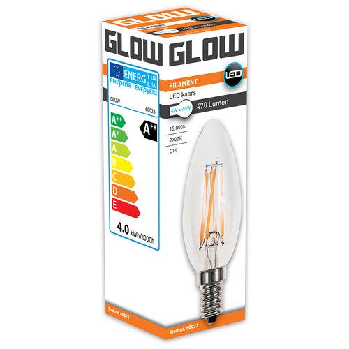 GLOW LED FILAMENT KAARS 4W-40W E14 C35 470LM ND