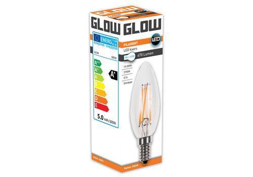 GLOW LED FILAMENT KAARS 5W-40W E14 C35 470LM DIMBAAR