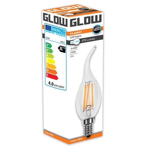 GLOW Tipkaars E14 4W(=40W) 2700K 470LM