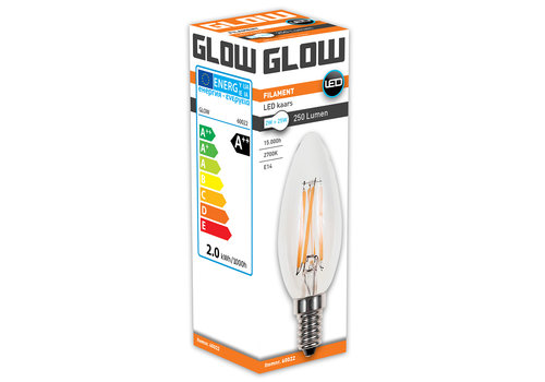 GLOW LED FILAMENT KAARS 2W-25W E14 C35 250LM ND