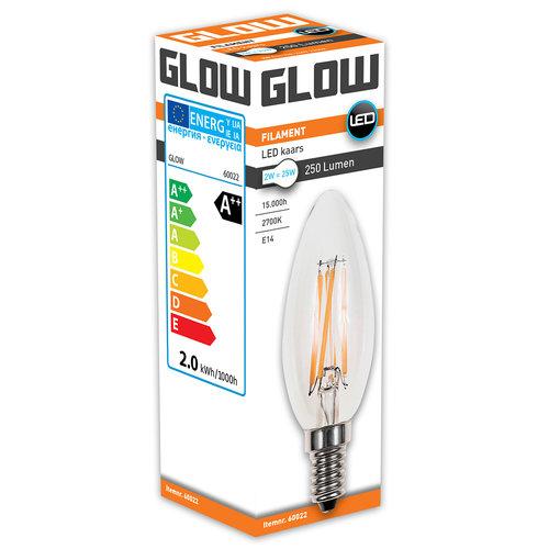 GLOW LED FILAMENT KAARS 2W-25W E14 C35 250LM ND