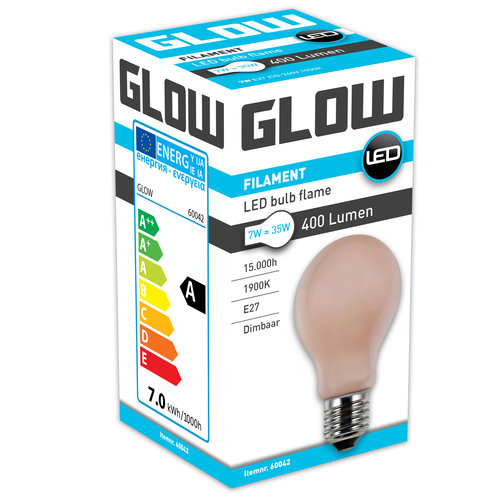 GLOW LED FLAME NORMAAL 7W-35W E27 A60 400LM DIMBAAR