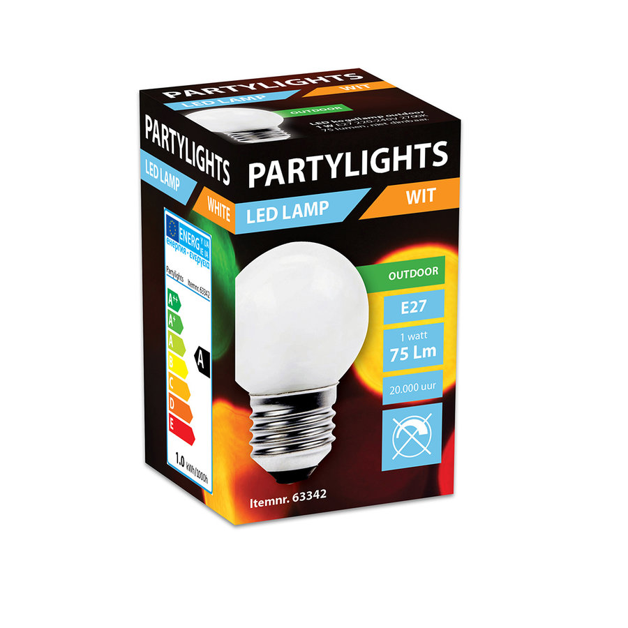 LED PARTYLIGHT KOGEL 1W E27 WIT - IN & OUTDOOR-2