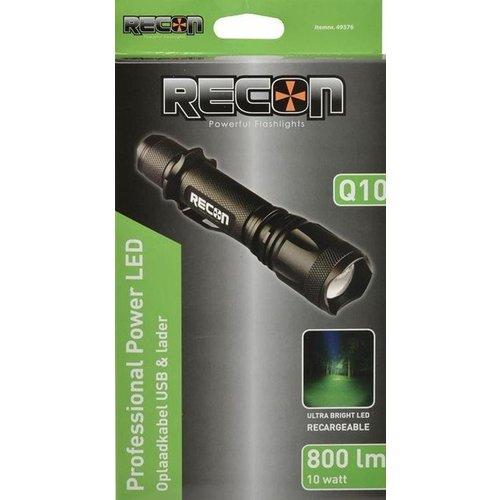RECON Q10 PowerLED zaklamp 10W Oplaadbaar