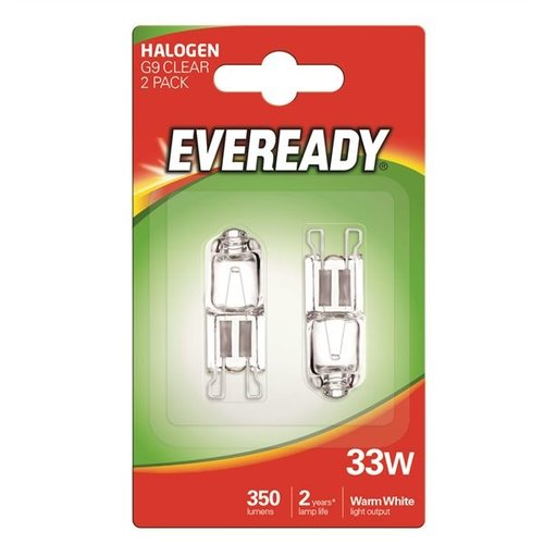 Eveready G9 33WHalogeen helder 2-pack
