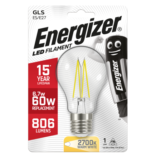 Energizer Normaal Filament E27 6,2W(=60W) 806LM