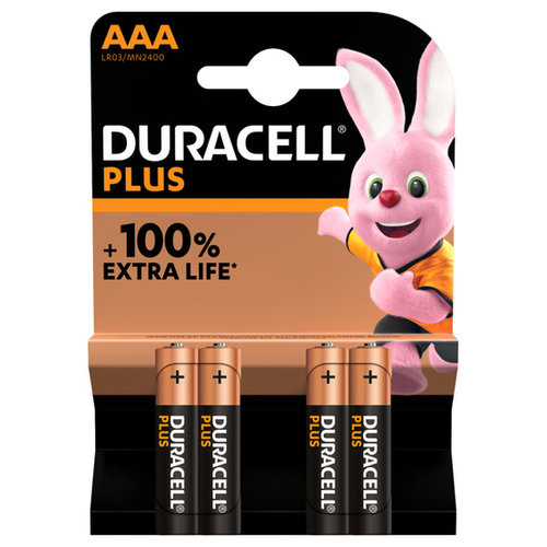 Duracell Plus Alkaline 100% AAA 4 pack (LR03)