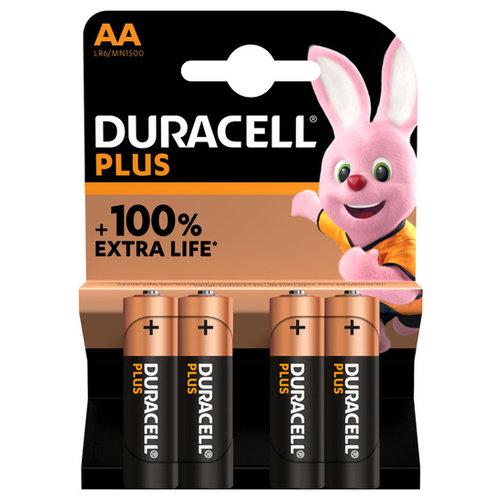 Duracell Plus Alkaline 100% AA 4 pack (LR6)