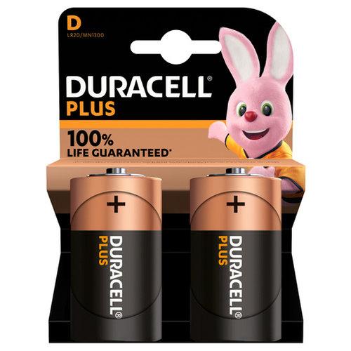 Duracell Plus Alkaline 100% D 2 pack (LR20)
