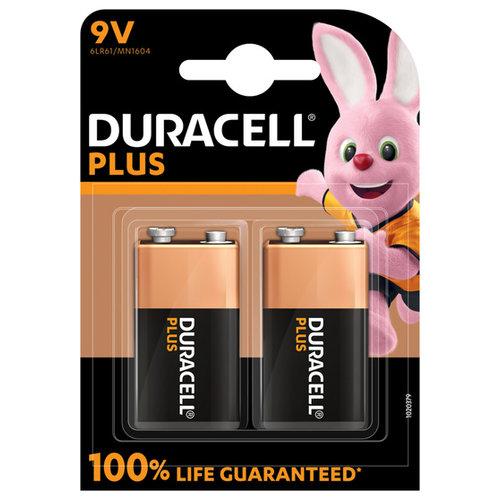 Duracell Plus Alkaline 100% 9V 2 pack (6LR61)