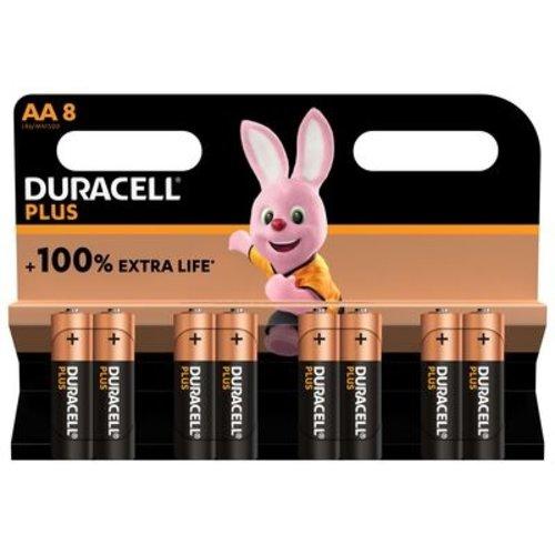 Duracell Plus Alkaline 100% AA 8 pack (LR6)