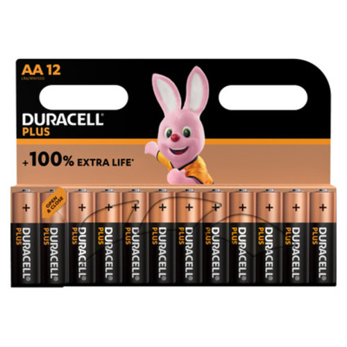Duracell Plus Alkaline 100% AA 12 pack (LR6)