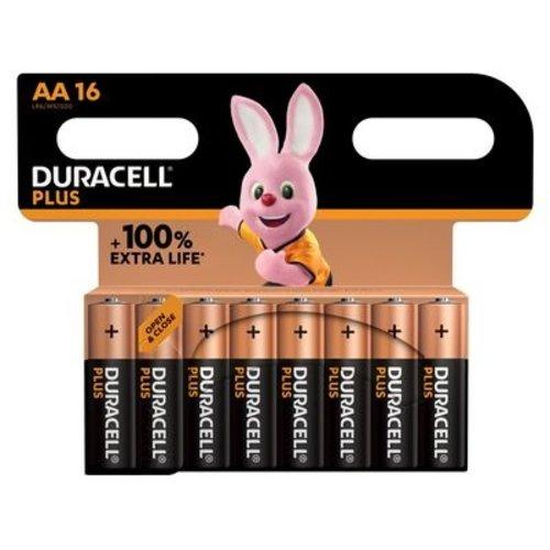 Duracell Plus Alkaline 100% AA 16 pack (LR6)